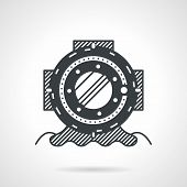 stock photo of nautical equipment  - Flat black line style vector icon for old scuba helmet on white background - JPG
