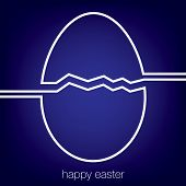 stock photo of tan lines  - Continuous line Easter egg card in vector format - JPG