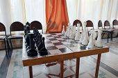 stock photo of chessboard  - The image of chessboard with the chess - JPG
