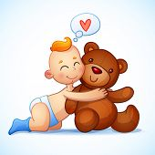 stock photo of teddy  - Baby boy redhead hugs  Teddy Bear toy on a white background - JPG