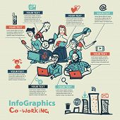stock photo of coworkers  - Infographics set in the style of a sketch of the global Internet users and coworking - JPG