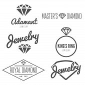 Set of logo, emblem, label, print, sticker or logotype elements for jewelry poster