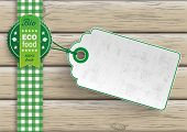 stock photo of food label  - Bio food label with price sticker on the wooden background - JPG