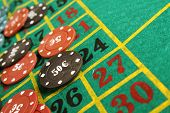 stock photo of roulette table  - Close up of casino roulette table - JPG