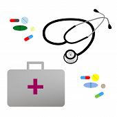 picture of nouns  - Illustration flat stethoscope - JPG
