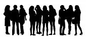 stock photo of ordinary woman  - black silhouettes of three groups of different women only standing and talking to each other - JPG