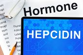 pic of hormone  - Papers with hormones list and tablet  with word hepcidin - JPG