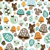 foto of owls  - Seamless kids fall woodland animals with toadstool mushroom deer owl and squirrel illustration background pattern in vector - JPG