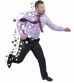 stock photo of running-late  - Running businessman in a hurry over white background isolated - JPG