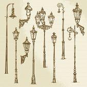 stock photo of lamp post  - Street lamp set - JPG