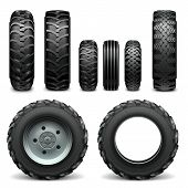 stock photo of tractor  - Tractor tires with different protector - JPG