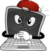foto of bullying  - Mascot Illustration of a Laptop Dressed Like a Stereotypical Bully - JPG