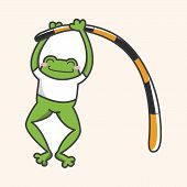 pic of cute frog  - Animal frog doing sports cartoon theme elements - JPG