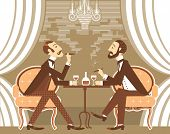picture of tobacco smoke  - Gentlemen smoking cigares and sitting in tobacco smoke - JPG