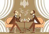 stock photo of clubbing  - Gentlemen talking and drinking in club - JPG