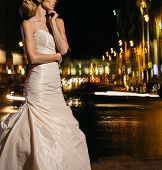 image of night gown  - Beautiful bride on street in the night - JPG