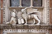 Sculpture Above The Porta Della Carta At The Doges Palace