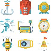 pic of nautical equipment  - Set of flat color style vector icons for diving equipment and marine objects on white background - JPG