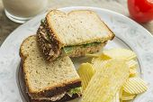 picture of potato chips  - Tuna salad sandwich with ripple potato chips and a glass of milk - JPG