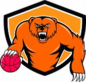 stock photo of angry  - Illustration of a grizzly bear angry growling dribbling basketball viewed from front set inside shield crest on isolated background done in cartoon style - JPG