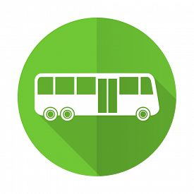 picture of transportation icons  - bus green flat icon public transport sign
