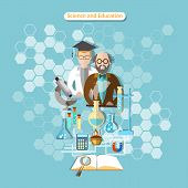 pic of physical education  - Science and education laboratory research professor chemistry physics assistant pharmacology vector illustration - JPG