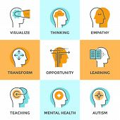 picture of mental_health  - Line icons set with flat design elements of human mind process people brain thinking mental health and autism problem opportunities and mental transform - JPG