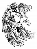 stock photo of spartan  - An illustration of a warrior angel character or sports mascot in a trojan or Spartan style helmet holding a sword - JPG
