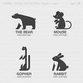 foto of gopher  - Wild Animals Logos negative space style design vector templates. Bear, Mouse, Gopher, Rabbit silhouettes logotype concept icons set. - JPG