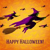 Постер, плакат: Happy halloween greeting card with horde of witches flying on the brooms