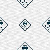 image of slippery-roads  - Road slippery icon sign - JPG