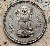 picture of ashoka  - ASHOKA PILLAR emblem represented in Indian coin - JPG
