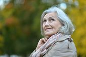 picture of beautiful senior woman  - Happy beautiful senior woman in the autumn park  - JPG
