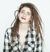picture of dreadlock  - real caucasian woman with dreadlocks hairstyle funny cheerful faces on white background - JPG