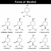 stock photo of pharmaceutical  - Stereoisomers of menthole molecule  - JPG