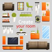 stock photo of tv sets  - Create your room set with living room furniture objects isolated vector illustration - JPG