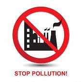 pic of polluted  - Stop Pollution Icon Sign - JPG
