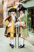 picture of aristocrat  - portrait of two medieval aristocratic noblemans in Venice - JPG