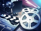 Video, movie, cinema vintage concept. Retro camera, reels and clapperboard. 3d poster