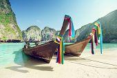 stock photo of phi phi  - Maya bay Phi Phi Leh island - JPG