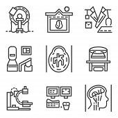 picture of ct scan  - Set of flat simple line vector icons for medical research - JPG