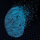 image of fingerprint  - Personal information encryption and private data protection as a digital fingerprint being pixelated into encrypted pixels as a security technology symbol and password protection icon and online customer info - JPG