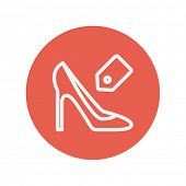picture of priceless  - Shoe with tag thin line icon for web and mobile minimalistic flat design - JPG