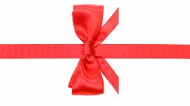 pic of box-end  - real red satin bow with horizontal cut ends on narrow ribbon isolated on white background - JPG