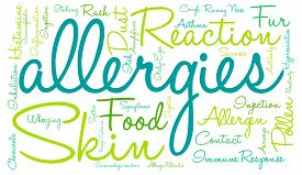 image of anaphylaxis  - Allergies word cloud on a white background - JPG