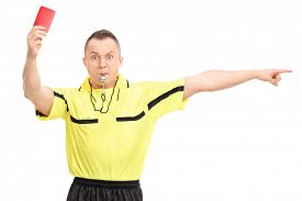 foto of referee  - Angry football referee showing a red card and pointing with his hand isolated on white background - JPG
