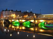 River Liffey Bridge By Night, Dublin