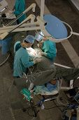 surgeons in operation room. view from above