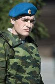 Russian paratrooper on Victory Day in Russia, editorial photo (focus point on face)