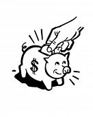 Piggy Bank - Retro Clip Art